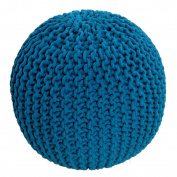 Homescapes Teal Knitted Pouffe Footstool Bean Filled 100% Cotton for Living Room Children or the Elderly
