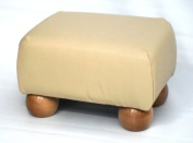 Small Ivory Leather Footstool