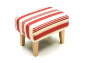 Footstool in Prairie Stripe Rouge with Tall Natural Legs