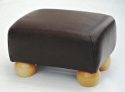 Hand Crafted Small Brown Leather Footstool