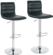 Pair of Aldo Black Faux Leather Kitchen Bar Stools Breakfast Bar Stools from Lamboro