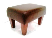 Tall Footstool in Dark Brown Leather
