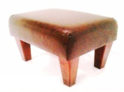 Tall Footstool in Rust Leather
