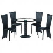 LPD Furniture Lenora 4 Seater Dining Set, In Black & Clear Glass