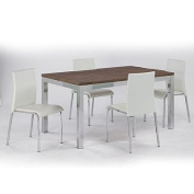 LPD Furniture Amari 4 Seater Dining Set, In Dark Wood & Chrome