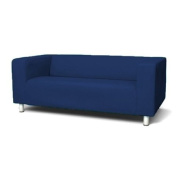 Sofa Slip Replacement Cover for Ikea Klippan 2 Seater Sofa in Royal Blue with hook and loop Secure Fitting