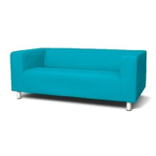 Sofa Slip Replacement Cover for Ikea Klippan 2 Seater Sofa in Turquoise with hook and loop Secure Fitting