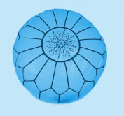 Moroccan Leather pouffe- Light Blue - (Filled) 55x55x30cm