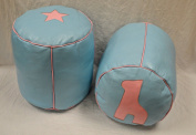 Twin Kids Round Light Blue Leather pouffe- Light Pink Star & Camel On Light Blue - (Filled) Di 35 H 35cm