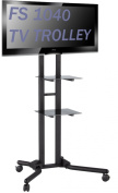 FS1040 2m-tall TV Trolley Floor Stand w/ Mounting Bracket for LCD/Plasma TVs & Glass Shelves