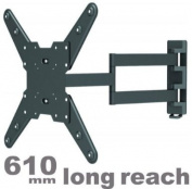 Intecbrackets® - Long 610mm reach ultra slim fitting strong cantilever tilt and swivel TV wall mount bracket fits 42 43 44 46 47 50 51 55 TV's with VESA Fittings of 300x300 and 400x400 complete with a lifetime warranty
