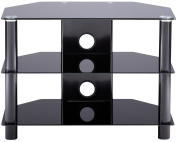 Alphason Essentials - 3 shelf black TV Stand for up to 80cm