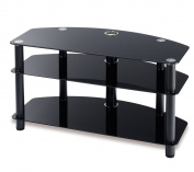 Techlink DAIS D100B Audio Visual Furniture Black Legs with Black Glass - Suitable for Screens up to 130cm