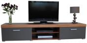 2 Metre Graphite & Walnut Sydney 2 Door TV Cabinet Extra Large Unit