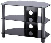 Alphason Essentials - 3 shelf black TV Stand for up to 90cm