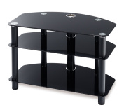 Techlink DAIS D80B Audio Visual Furniture Black Legs with Black Glass - Suitable for Screens up to 90cm