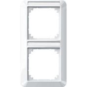 Merten 385219 1-M frame, 2-gang with labelling bracket, vertical installation, polar white glossy