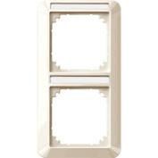 Merten 385244 1-M frame, 2-gang with labelling bracket, vertical installation, white glossy