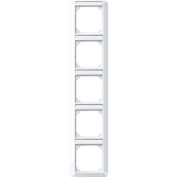 Merten 385525 1-M frame, 5-gang with labelling bracket, vertical installation, active white glossy