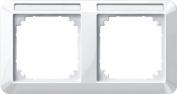 Merten 387219 1-M frame, 2-gang with labelling bracket, horizontal installation, polar white glossy
