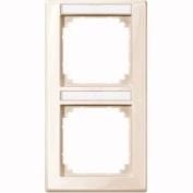Merten 470244 M-SMART-frame, 2-gang with labelling bracket, vertical installation, white glossy