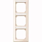 Merten 470344 M-SMART-frame, 3-gang with labelling bracket, vertical installation, white glossy