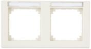 Merten 473244 M-SMART-frame, 2-gang with labelling bracket, horizontal installation, white