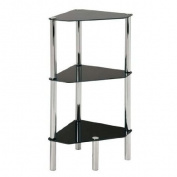 Black Glass Chrome and Steel 3 Tier Corner Table Shelf Unit