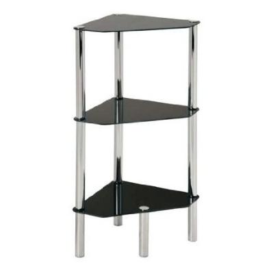 Black Glass Chrome And Steel 3 Tier Corner Table Shelf