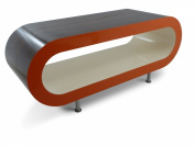 Large Retro High gloss Stripey Walnut with High gloss orange sides and high gloss cream inner 110cm Hoop Coffee Table / TV Stand with legs