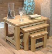 62X46Cm Nest Of 3 Coffee Tables Mobel Solid Premium Oak