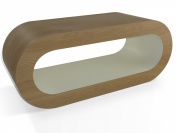 Medium Retro Matt Finish Oak and Cream 90cm Hoop Coffee Table / TV Stand