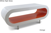 Large Retro White and Orange 110cm Hoop Coffee Table / TV Stand with legs