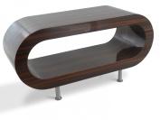 Medium Retro High Gloss Stripey Walnut 90cm Hoop Coffee Table / TV Stand with Feet
