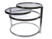 Double Swivel Glass Table in Chrome