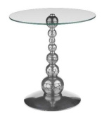 GARBO TABLE WITH CLEAR GLASS TOP IN PEWTER