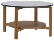 RGE Designs Living Granite/ Wood Bohuslan Oval Coffee Table with Solid, 130 x 60 x 47 cm, Granite/ Oak