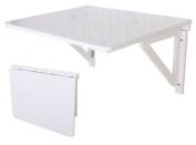 Wall-mounted Drop-leaf Table, Folding Dining Table Desk, Solid Wood Table, 75--60cm - White, FWT05-W