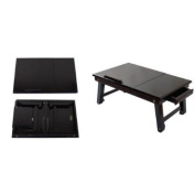 SoBuy Wood Foldable Notebook Laptop Table, Adjustable Height & Angle Folding Food Bed Lap Top Tray Table Desk FBT02-SCH,Black