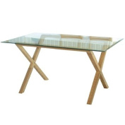 LPD Furniture Cadiz Dining Table, In Oak & Clear Glass