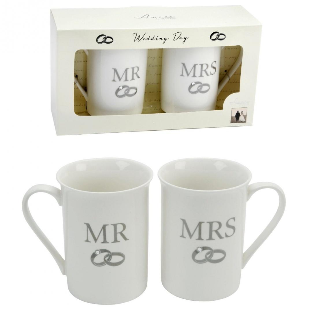 Pair Of Fine Bone China Wedding Gift Mugs Mr Mrs By The Emporium