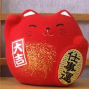 Maneki Neko Feng Shui Lucky red cat for prosperity in business