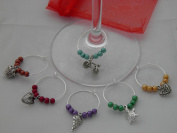"Set of 6 Handmade "" Mixed "" Wine Glass Charms by libbysmarketplace"