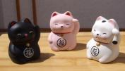 Lucky Cat Kitten Kids X 3 black pink and white - Maneki Neko