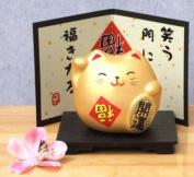 A TOU Maneki Neko Japanese golden cat with happiness card & stand
