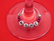 Personalised Name Wine Glass Charm with Hearts by libbysmarketplace