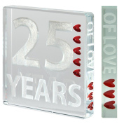 Beautiful, high quality, 25 years of love, anniversary Miniature Token by 'Spaceform'. A timeless, romantic, anniversary gift (1333).