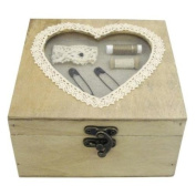 Sewing Box Heart Window Antique Look Small Size Lace 3 Compartment