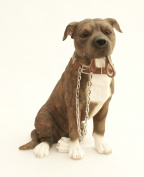 Brown Staffordshire Bull Terrier Dog Ornament - Walkies Range Of Collectable Dogs By Leonardo