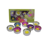 Mixed 8 handmade fairtrade scentd Water Lilly flower tealight candle in assorted designs and colours gift set